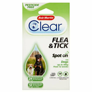 Bob Martin Clear Flea & Tick Repel Spot On 24 Weeks For Dogs Up To 40kg UK Dog