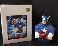 "SDCC Marvel Comics CAPTAIN AMERICA Resin Bust Bank - Box Resin Figure 8"""