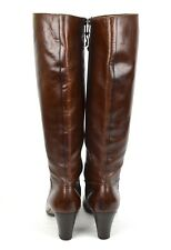 "SALVATORE FERRAGAMO Maroon Leather Knee High Boot SAKS 3"" Heel Ladies 8.5AAA"