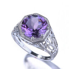 Vintage Style 10K White Gold Amethyst Unique Engagement Jewelry Gemstone Ring