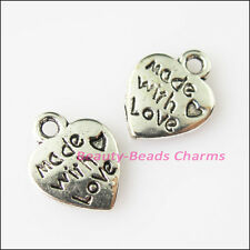 20Pcs Antiqued Silver Tone Made with Love Heart Charms Pendants 9.5x12.5mm