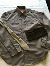 More details for ww2 us army officers shirt tie & hat repro reenactment