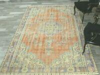 Anatolian Oriental Wool Area Rug Turkish Vintage Handmade Ethnic Carpet 6x9 ft.