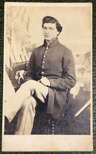 CDV of Union Private in Front of Patriotic Camp Scene - Nine Button Frock
