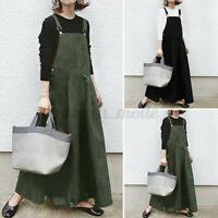 UK Womens Strappy Dungaree Pianfore Casual Loose Overall Maxi Dress Tunic Plus