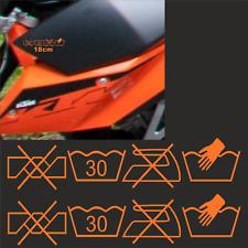 2 18cm Waschsymbole Aufkleber Sticker Auto Supermoto passt für KTM Symbole Wasch