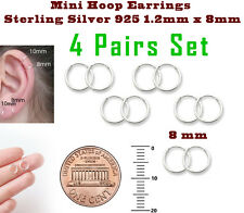 Mini Hoop Earrings Sterling Silver 925 1.2mm x 8mm 4 Pairs Set Super Small
