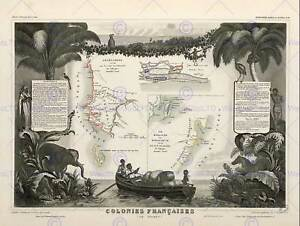 MAP OLD FRANCE LEVASSEUR FRENCH AFRICAN COLONIES POSTER ART PRINT BB12032B