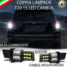 COPPIA LUCI RETROMARCIA 15 LED T20 W21W CANBUS JEEP COMPASS RESTYLING NO ERROR