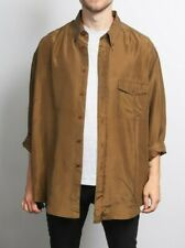 Mens Vintage Brown Silk Long Sleeve Shirt Retro Clothing 90s Size Large L