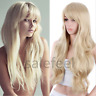 Women Long Hair Full Wig Natural Curly Wavy Synthetic Wigs Golden Blonde Wig