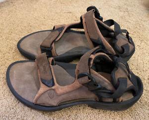 Mens Teva 6731 Brown Leather Hook Loop Strap/Buckle Sandals Size 11