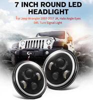 LED Headlight Turn Light 7 Inch Round For Jeep Wrangler 1Pc Angel Eye Halo