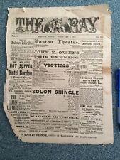 The Ray Vintage Boston Theatre Program 1877 Historic Massachusetts Ephemera Rare