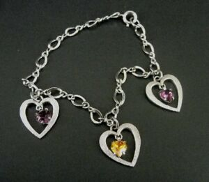 Hearts with Purple & Topaz Color Stones Sterling 925 Silver Charm BRACELET