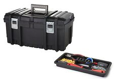 Husky Plastic Tool Box 22 In. Regular Size With New Metal Latches and Tray DIY