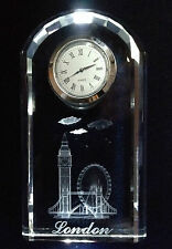 Crystal Clocks with Laser Engraved Image of London Attraction - Ideal gift