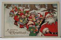 Santa Claus Joyful Christmas Parade of Children Postcard F14