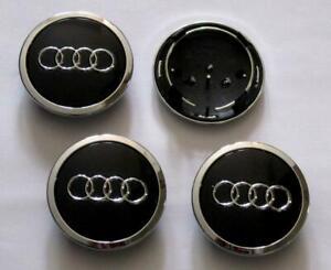 Chrome // Red For Audi 4PCS Sticker RS Line 57mm Center Hub Caps Emblem Badge