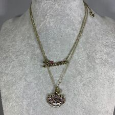 Betsey Johnson Necklace Script Princess Crown Rhinestones & Small Heart Charms