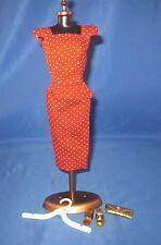 Vintage 1960s TAGGED Barbie RED DOT SHEATH DRESS w/Dress Form Display