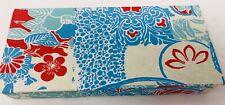 Handmade Paper Box Made Of Cotton Fabric W/ Silk Screen Print Blue Floral