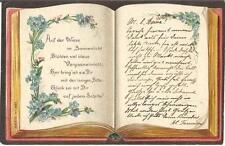 Grußkarte mit Spruch in Form eines Buchs, Buch, Litho-Ansichtskarte von 1903
