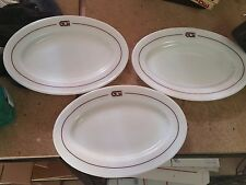 Lot (3) Vintage Pyrex Tableware Brown Band Oval Platter Plate Stripe 793 11 /12""
