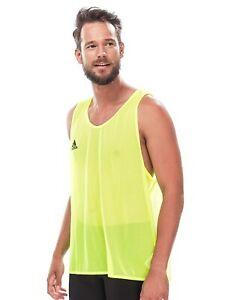 ADIDAS mens vest training bib top LARGE yellow football gym running SEE THROUGH