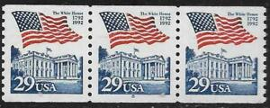 Scott 2609 US Stamp 1992 29c Flag over White House PNC P8 Coil Strip of 3