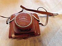 ancien étui en cuir marron pour appareil photo-Braun-Paxette