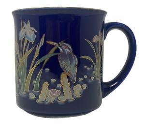 Beautiful Ceramic Wetlands Mug Water Fowl Irises Lily Pads Gold Leaf Signed