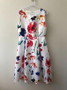 Huangjinuou Size XL White Floral Print Sleeveless A Line Below Knee Dress Poppy