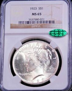 1923 Peace Dollar NGC MS65 with CAC Blast White with Superb Luster, PPQ #GC228