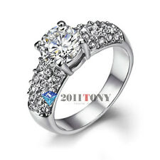 2CT Simulated Diamond Engagement Rings 18K White Gold Plated Swarovski Crystal