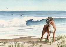 BOXER AT THE BEACH Watercolor ART Dog 8 x 10 Print Signed DJR