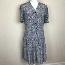 St Michael Vintage M&S polyester pattern summer dropped waist dress size 14 UK