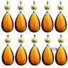 10 PCS Amber Crystal Glass Prisms Chandelier Lamp Part Tear Drop with Gold Pins