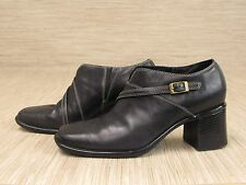 Clark's Black Leather Shoes Women's Size US 8.5 M Buckle Loafers Block Heels