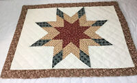 Patchwork Quilt Wall Hanging, Star With Diamonds, Floral Calicos, Rust, Brown