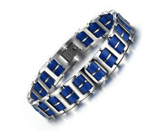 Mens Stainless Steel Silicone Bracelet Link Wristband Silver Blue Cuff Bangle