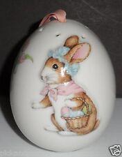 Porcelain Egg Shaped Pomander With Raised Bunny Rabbit Decoration Made in Japan