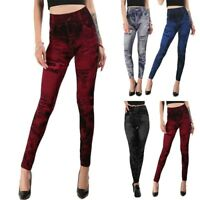 Damen Denim Look Dehnbar Leggings Skinny Jeggings Jeans Look Hose