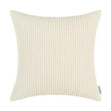 "2Pcs Cream Pillow Shells Cushion Covers Corn Corduroy Striped Sofa Decor 22x22"""