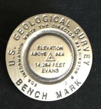 Rare Vintage US Geological Survey B.M. Bench Mark EVANS 14,264 Ft Pin Badge