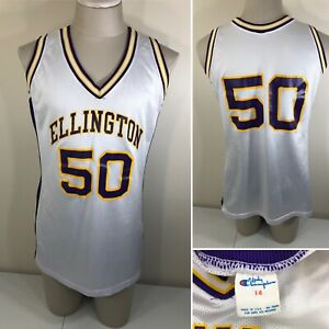 Vintage 80s Lady CHAMPION Ellington CT Women's Basketball Jersey 14 White Purple