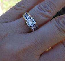 .76ct Princess Center .60ct Accents diamond engagement ring 14k YG