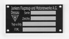 Junkers Ju 52 Bauteiletypenschild neu (1mm Alublech eloxiert)