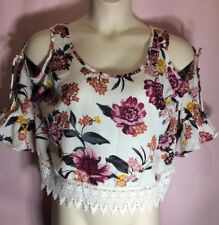 """Charolotte Russe L 42""""Bust Lace trim Open shoulder Floral Blouse Top Shirt F12"""