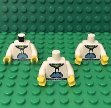 Lego X3 New Mini Figures White Torso Hooded Sweat Shirt With Medium Blue Packet